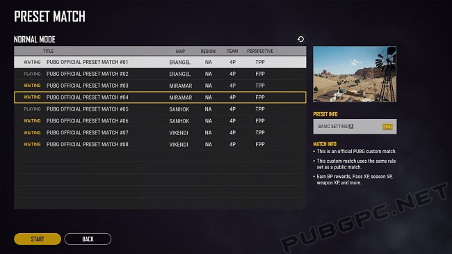 Various Preset Match options for you in PUBG