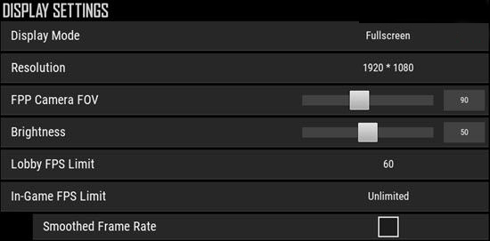 Display Settings Section in PUBG PC
