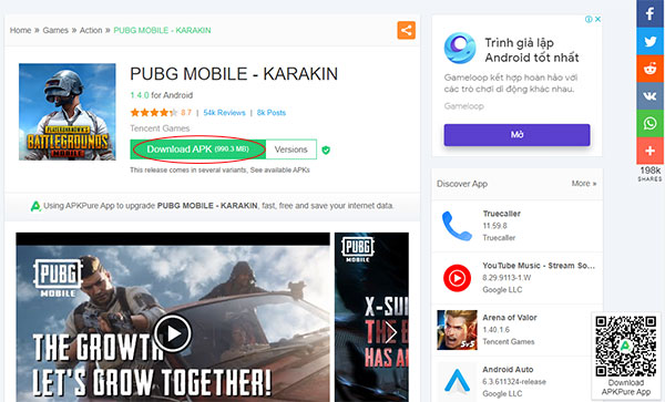 Downloadable APK option for the PUBG Mobile game