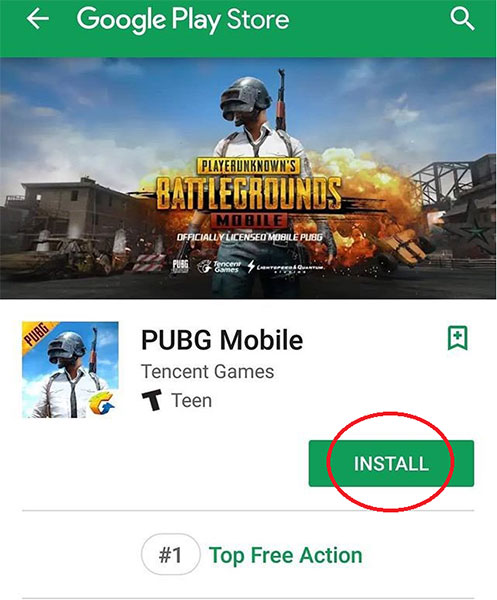 Tapping INSTALL next to the PUBG Mobile icon