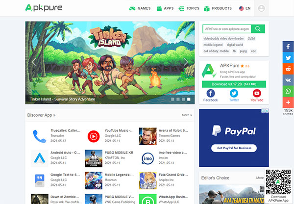 Main interface of apkpure.com page